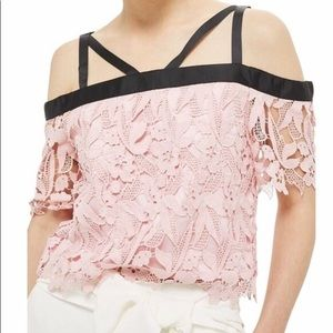 Topshop Lace Cropped Bardot Top Size 4